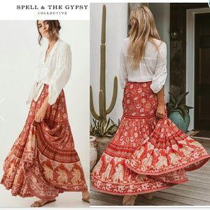 New spell designs poinciana maxi skirt cherry S